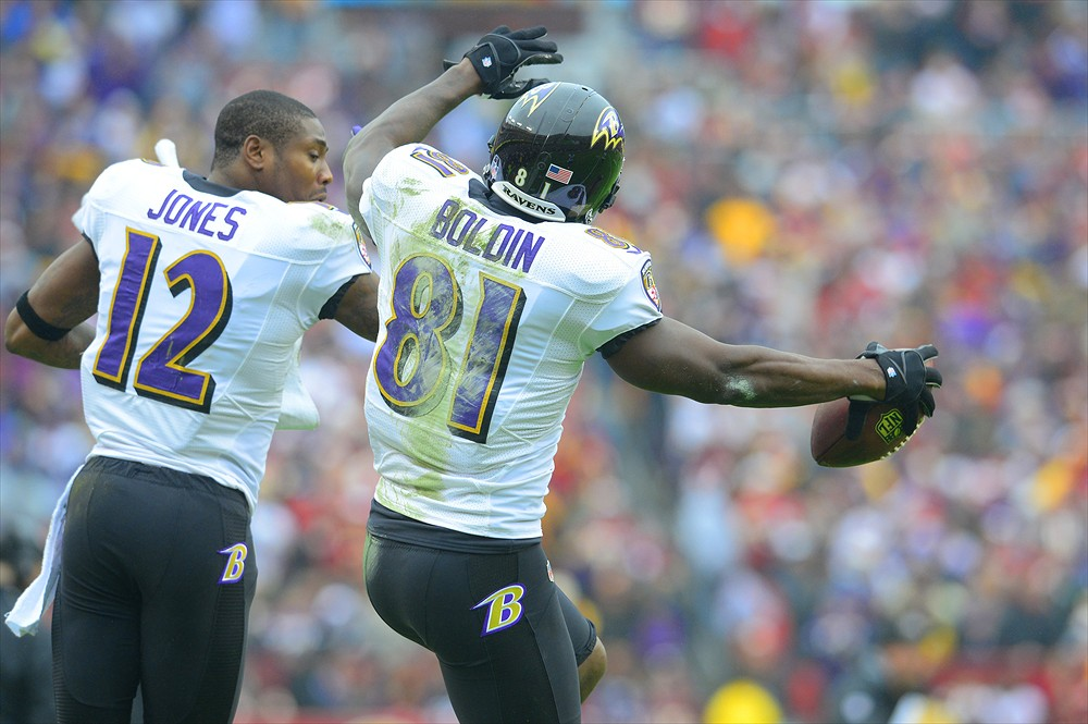 Anquan Boldin (81) and Jacoby Jones (12)