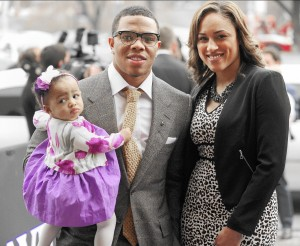 Ray Rice & Janay Parker-Rice with their daughter