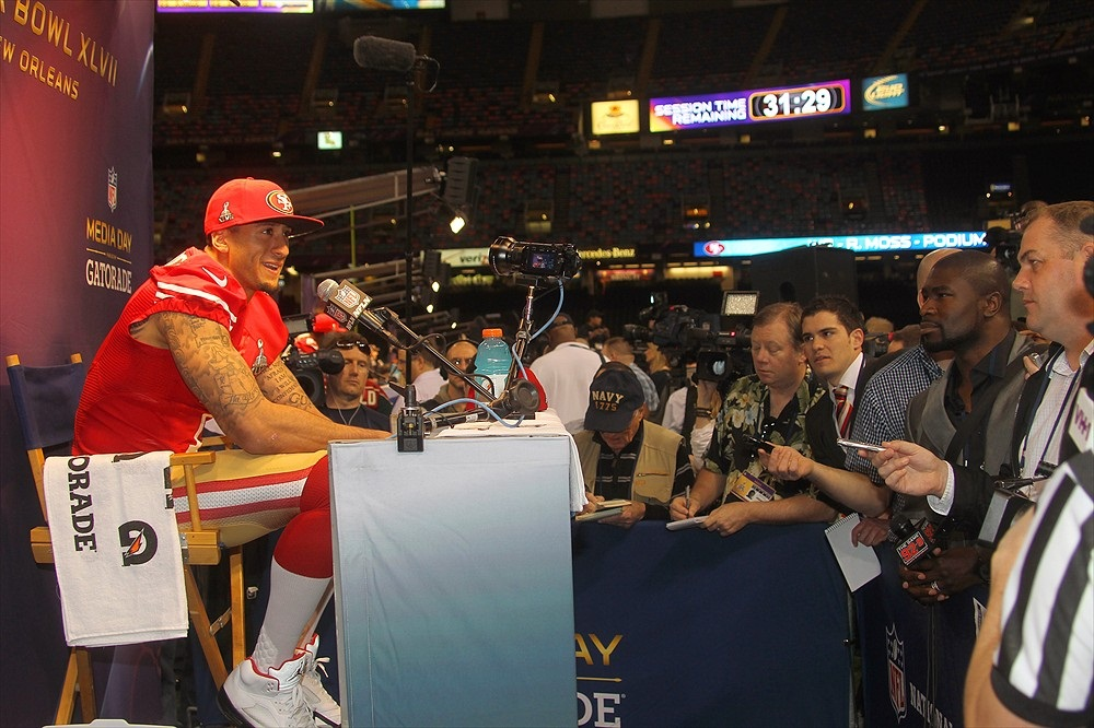 Colin Kaepernick at Super Bowl Media Day.