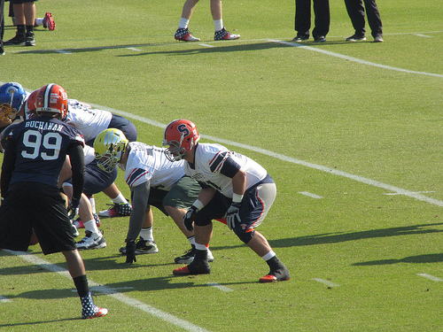 Justin Pugh at Senior Bowl practice.
