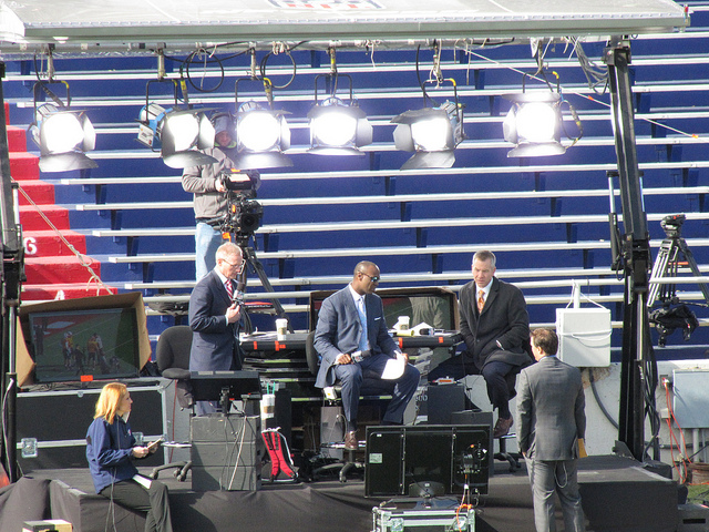 Mike Mayock and the NFL Network crew at Senior Bowl practice.