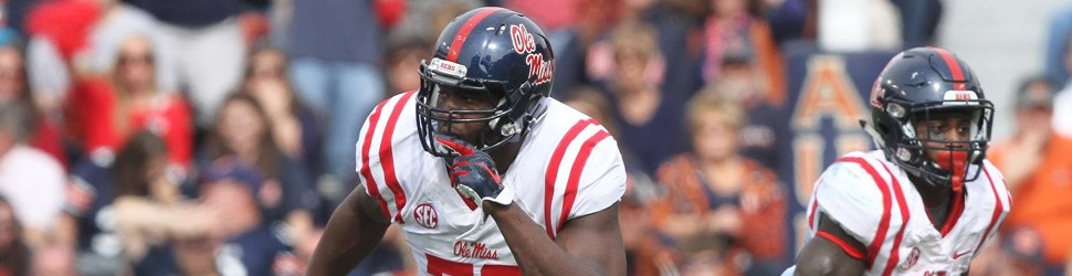 October 31, 2015: Mississippi Rebels offensive lineman Laremy Tunsil (78) looks to throw a block during an NCAA football game between the Auburn Tigers and the Ole Miss Rebels at Jordan-Hare Stadium in Auburn, AL. (Photo by Scott Donaldson/Icon Sportswire)